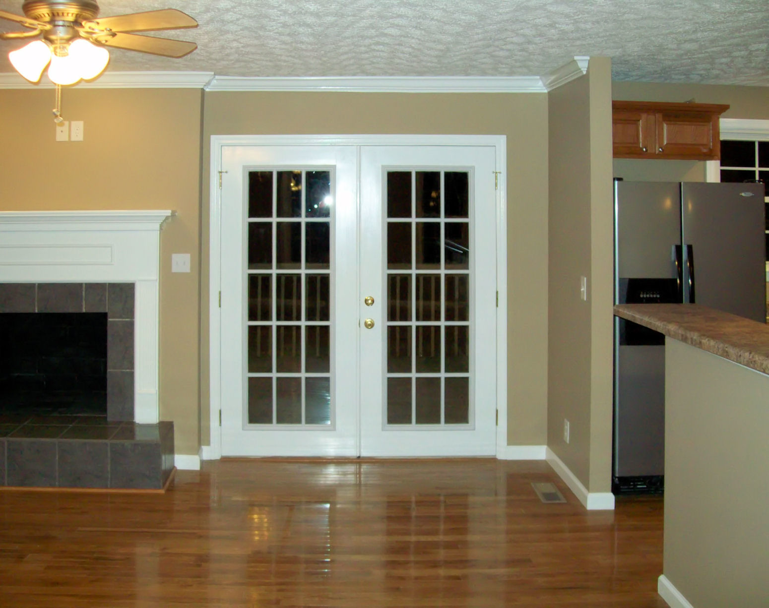 Classic french door near the cozy fireplace