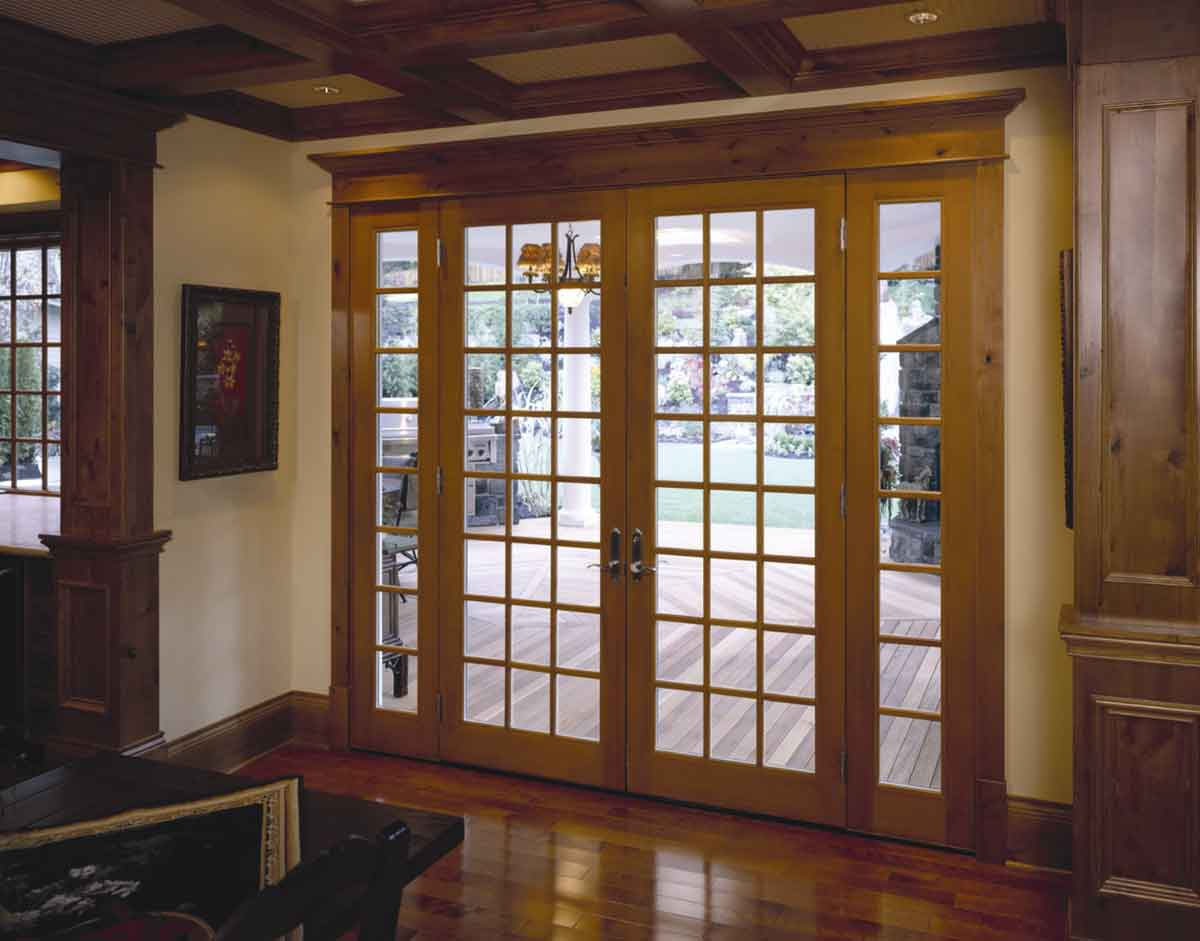 Classic wood decorated Patio door
